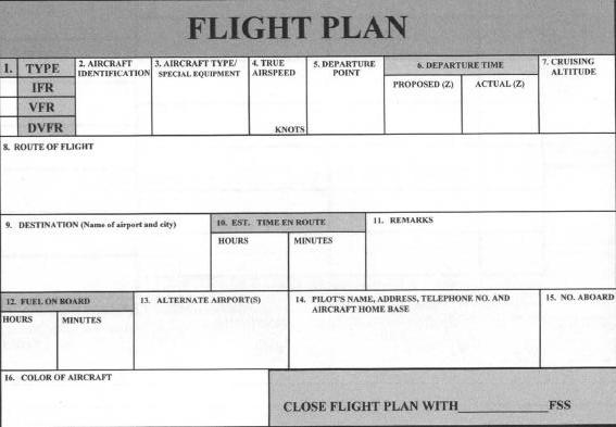flight plan form and worksheet